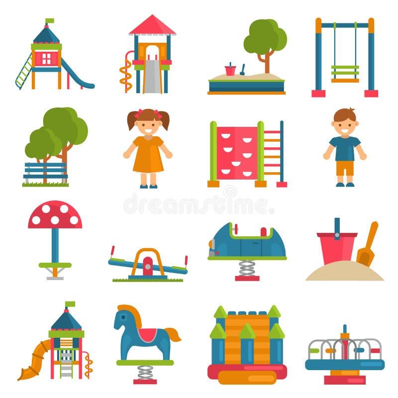 Los iconos planos del color del patio fijaron para el web y el diseño móvil ilustración del vector
