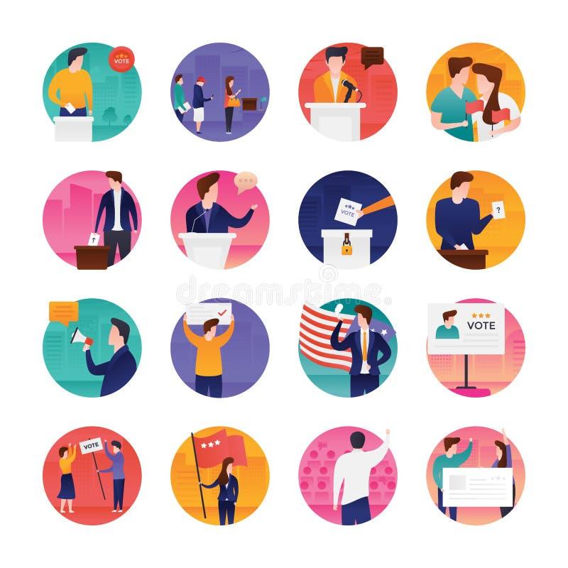 Los iconos planos del día de elección embalan stock de ilustración
