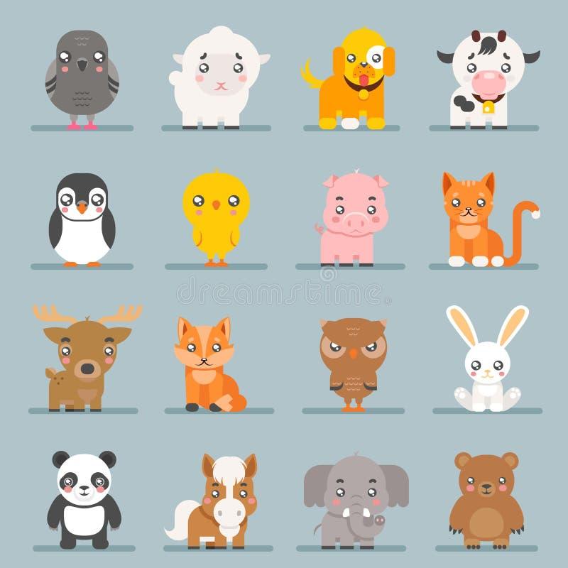 Los iconos planos del diseño del bebé de los animales de los cachorros lindos de la historieta fijaron el ejemplo del vector del  ilustración del vector