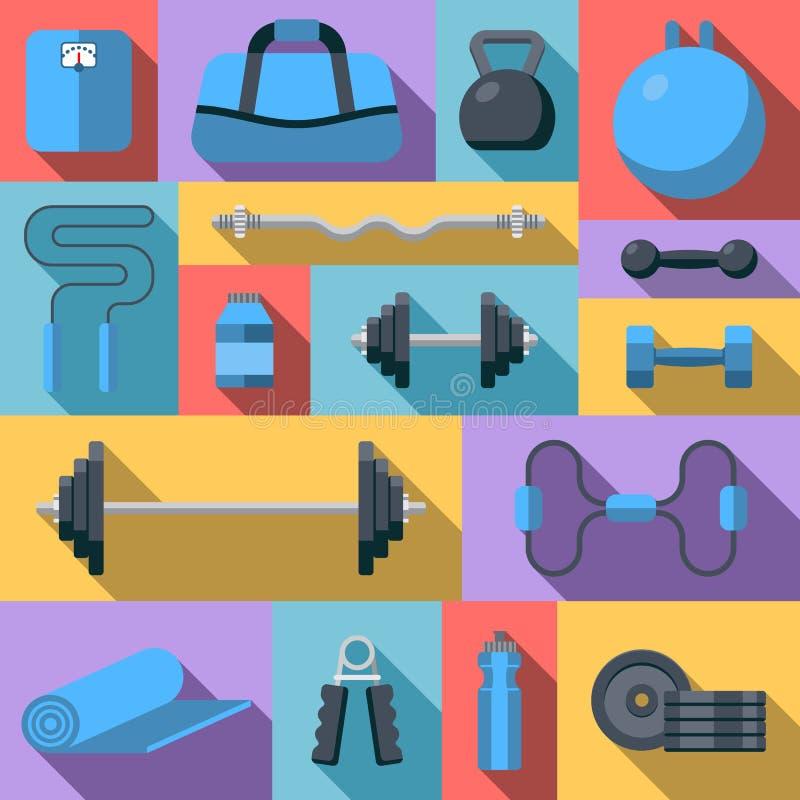 Los iconos planos del diseño en gimnasio de la aptitud ejercitan el equipo y suplementos sanos del ejercicio de la forma de vida ilustración del vector