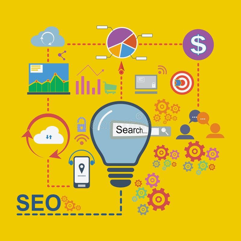 Los iconos planos del diseño fijados de analytics buscan la optimización de la información y del sitio web SEO, ejemplo del vecto stock de ilustración