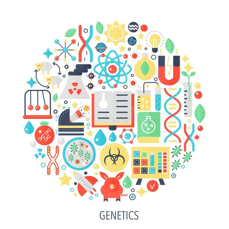 Los iconos planos del infographics de la tecnología de la genética de la bioquímica en círculo - coloree el ejemplo del concepto  stock de ilustración