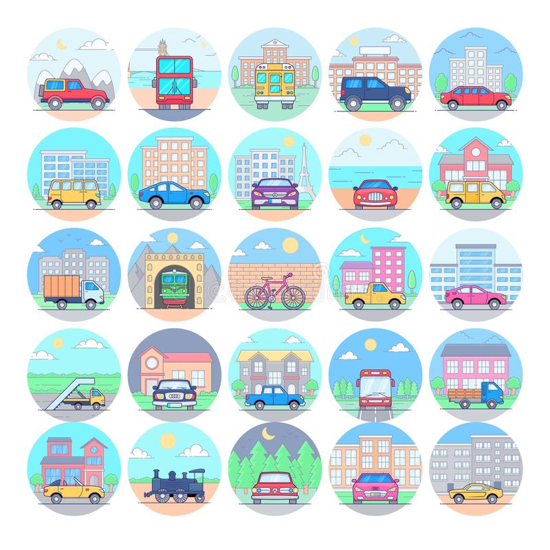 Los iconos planos del transporte embalan libre illustration