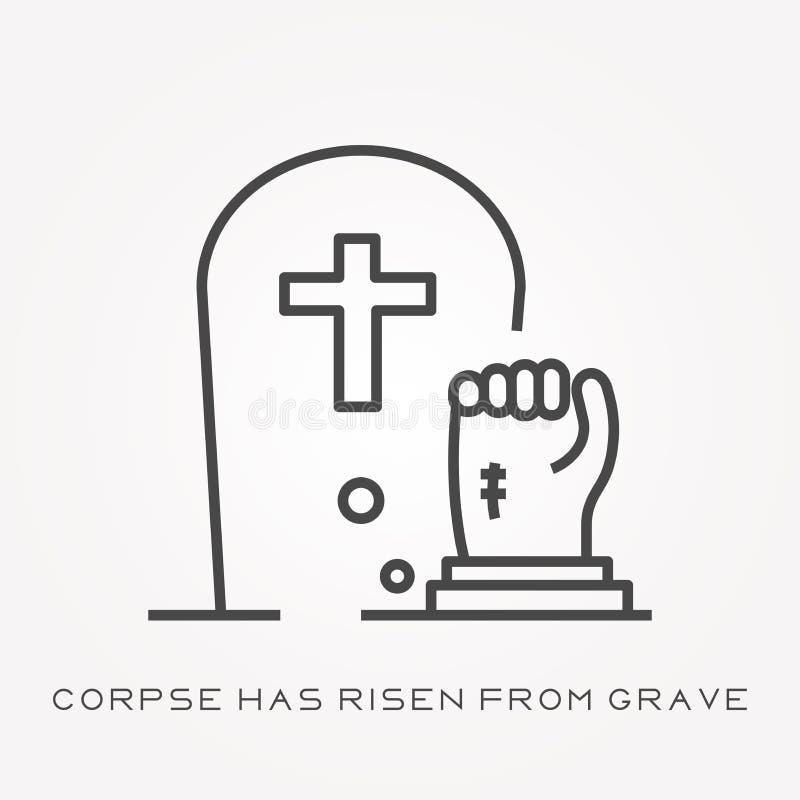 Los iconos planos del vector con el cadáver han subido de sepulcro ilustración del vector