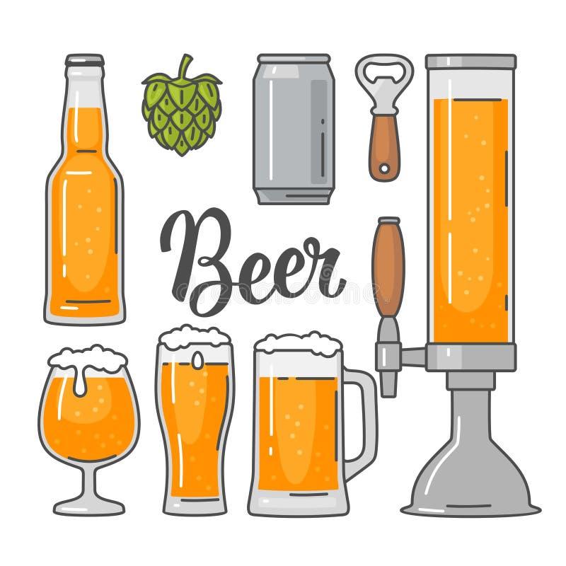 Los iconos planos del vector de la cerveza fijaron la botella, vidrio, barril, pinta ilustración del vector