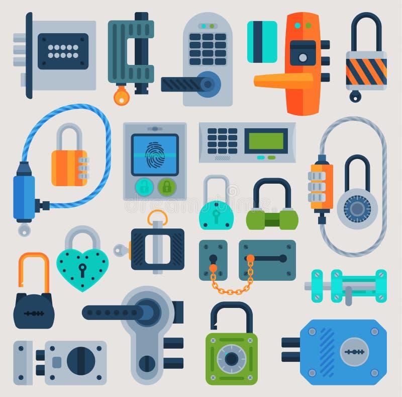 Los iconos planos del vector de la puerta de cerradura fijaron el acceso del elemento de la privacidad de la muestra de la contra libre illustration