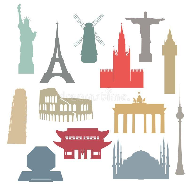 Los iconos planos del vector de las señales arquitectónicas famosas del mundo fijaron la colección para el diseño web y los ejemp libre illustration