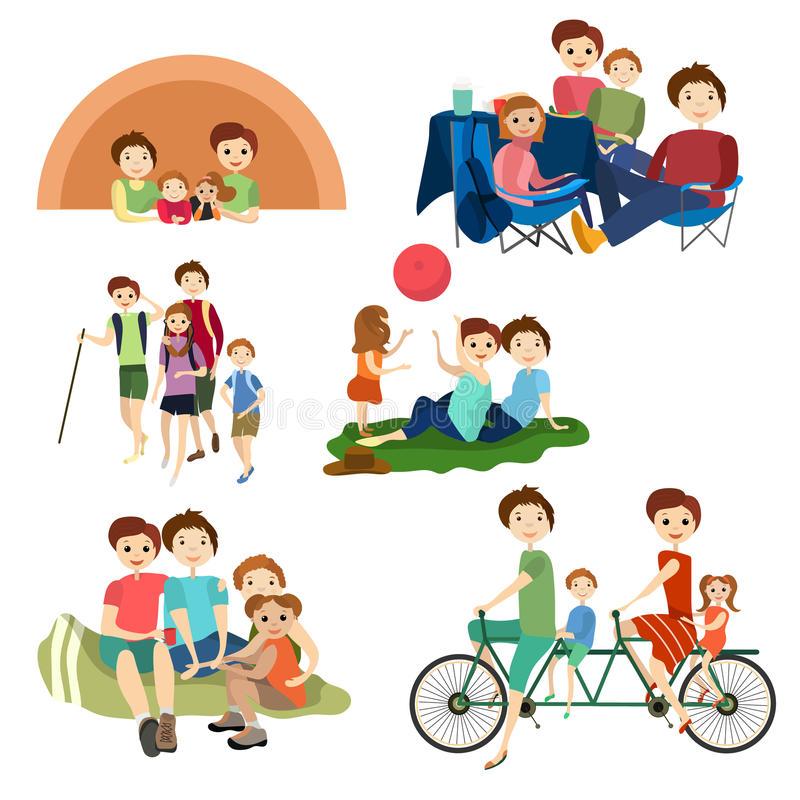 Los iconos planos del vector fijaron de los caracteres de la familia que acampaban, caminando libre illustration