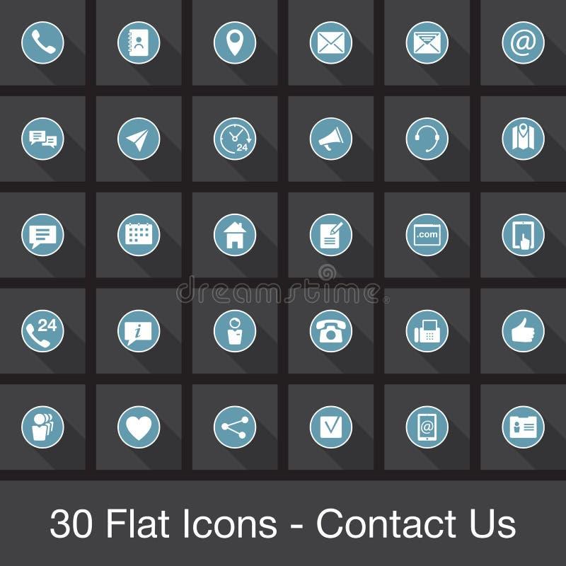 Los iconos planos del web fijados - éntrenos en contacto con ilustración del vector