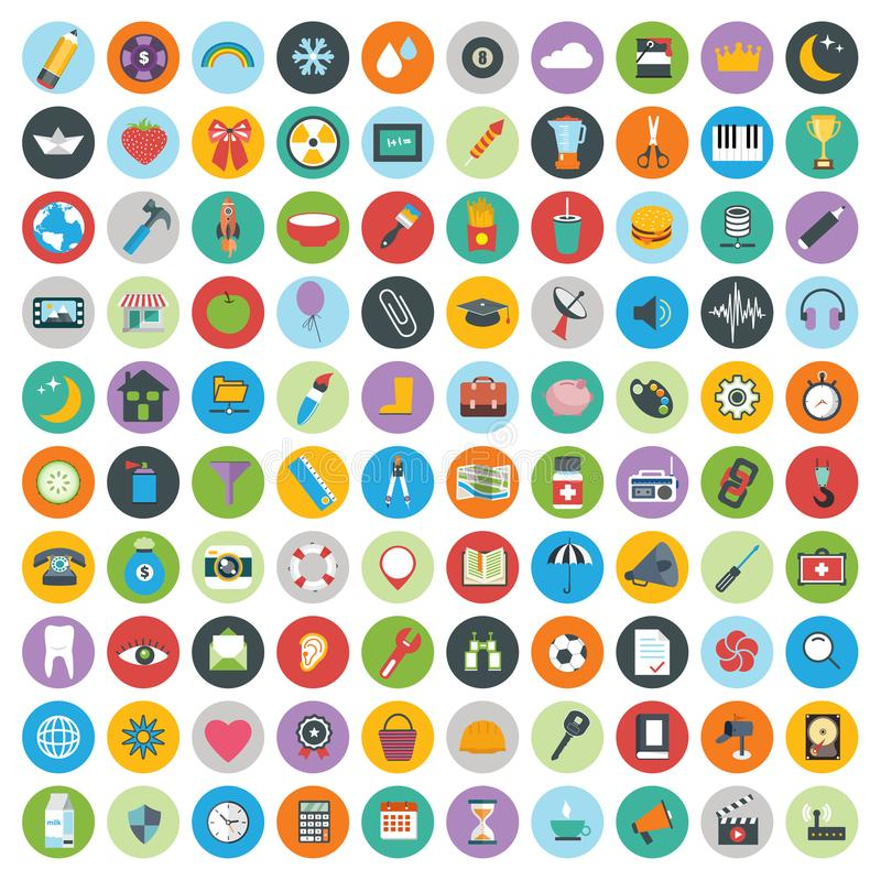 Los iconos planos diseñan el ejemplo moderno del vector Sistema grande de los iconos del web y del desarrollo de tecnología, símb libre illustration