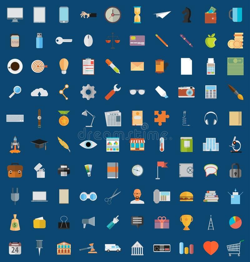 Los iconos planos diseñan el sistema grande del ejemplo moderno del vector de diverso libre illustration
