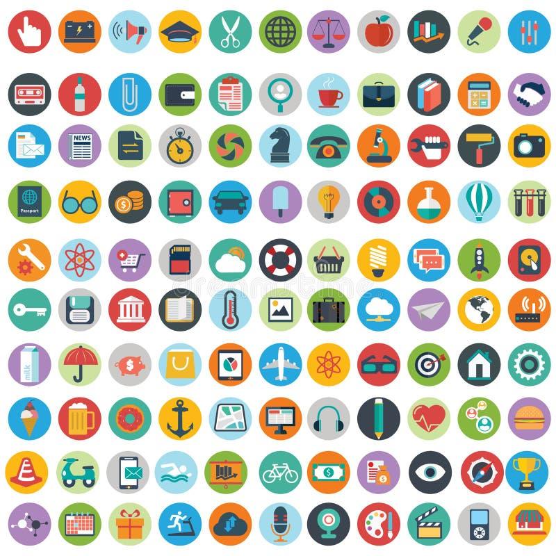 Los iconos planos diseñan el sistema grande del ejemplo moderno del vector de diversos artículos del servicio financiero, web y d stock de ilustración