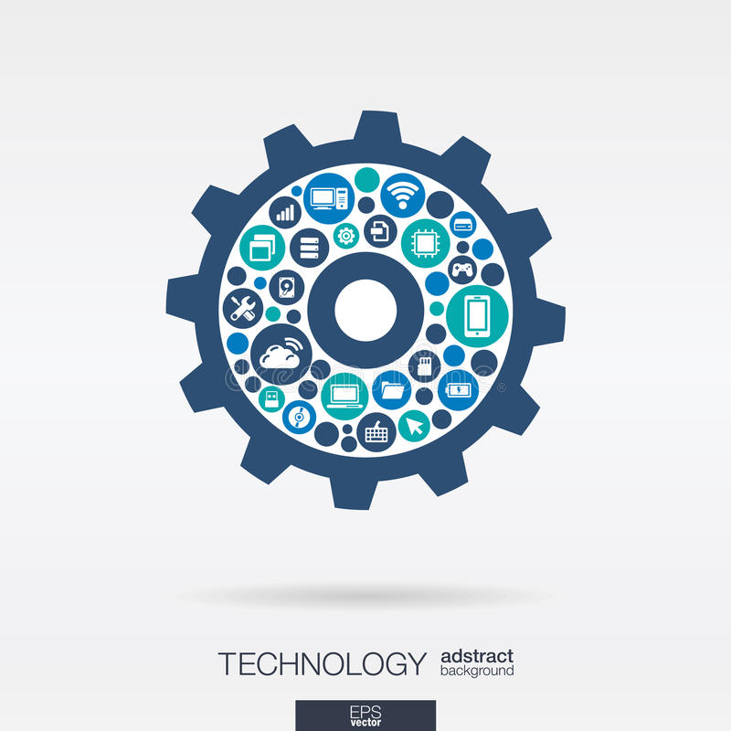 Los iconos planos en rueda dentada forman, tecnología, nube que computa, concepto digital del mecanismo libre illustration