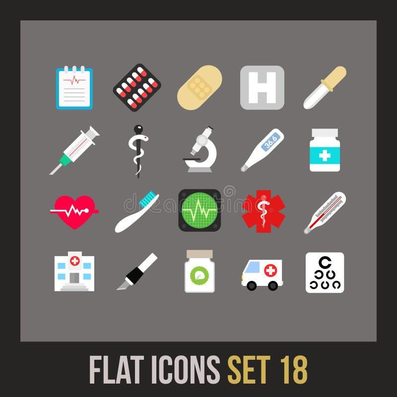 Los iconos planos fijaron 18 stock de ilustración