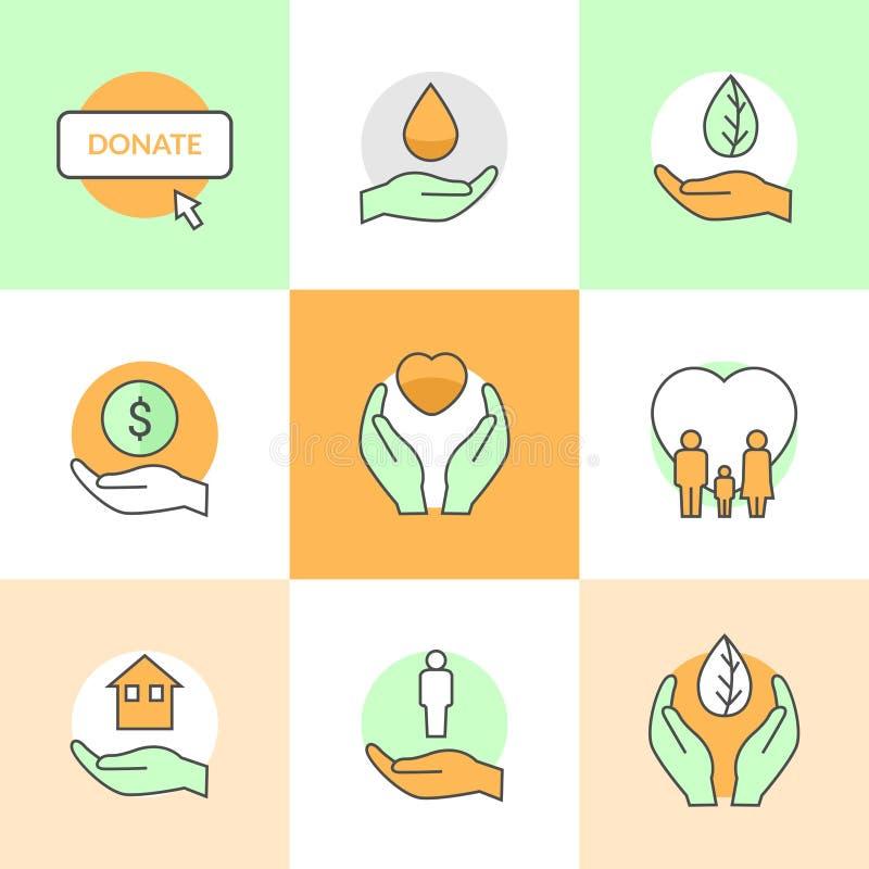 Los iconos planos fijaron con la línea plana iconos del tema de la caridad y de la donación del vector libre illustration