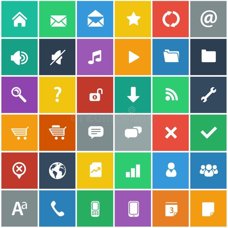 Los iconos planos fijaron - Internet básico y los iconos móviles fijados ilustración del vector