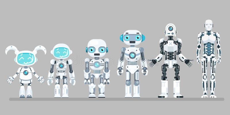 Los iconos planos futuros androides del diseño de la ciencia ficción de la tecnología de la innovación del robot fijaron el ejemp stock de ilustración