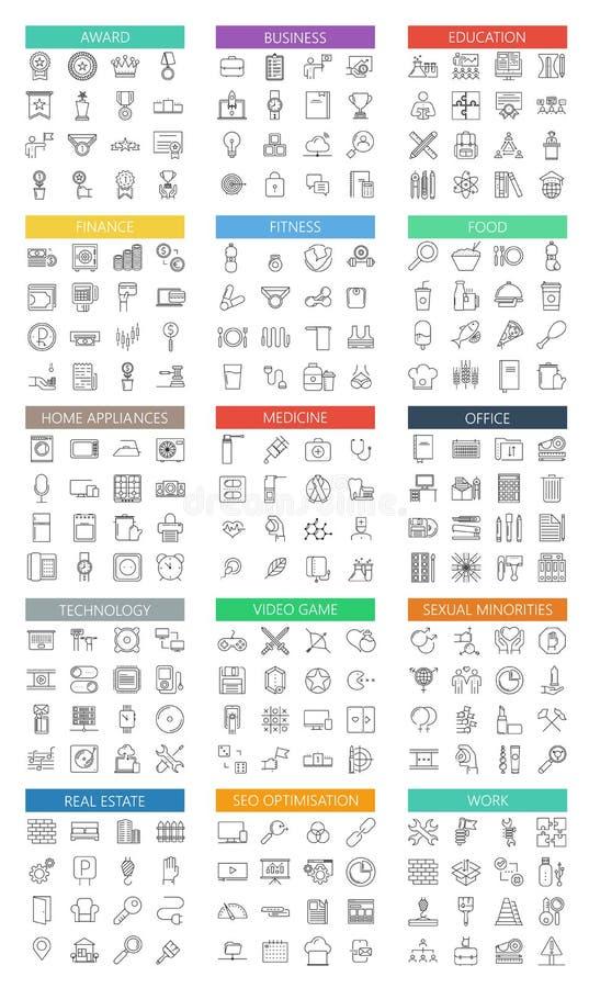 Los iconos planos grandes modernos del esquema del vector fijaron en blanco libre illustration