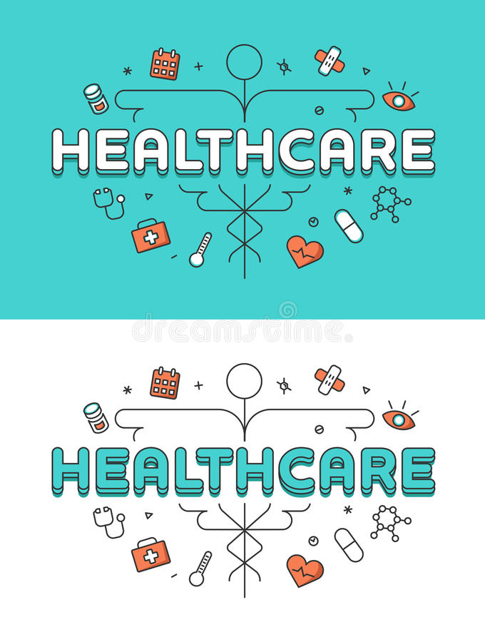Los iconos planos lineares de la atención sanitaria del caduceo curan stock de ilustración