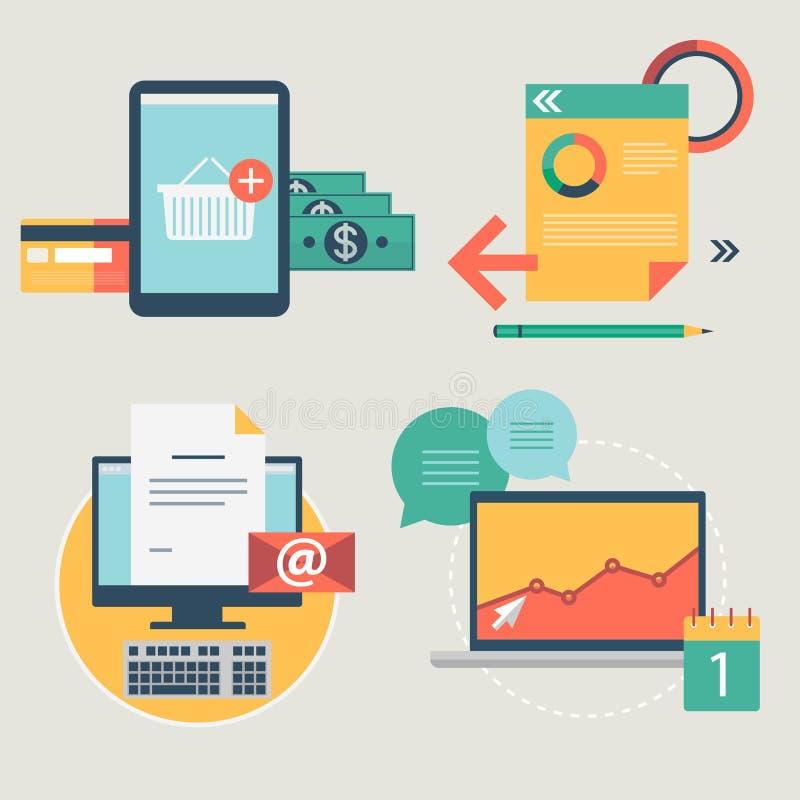 Los iconos planos modernos vector la colección, objetos del diseño web, negocio, la oficina y artículos del márketing. ilustración del vector