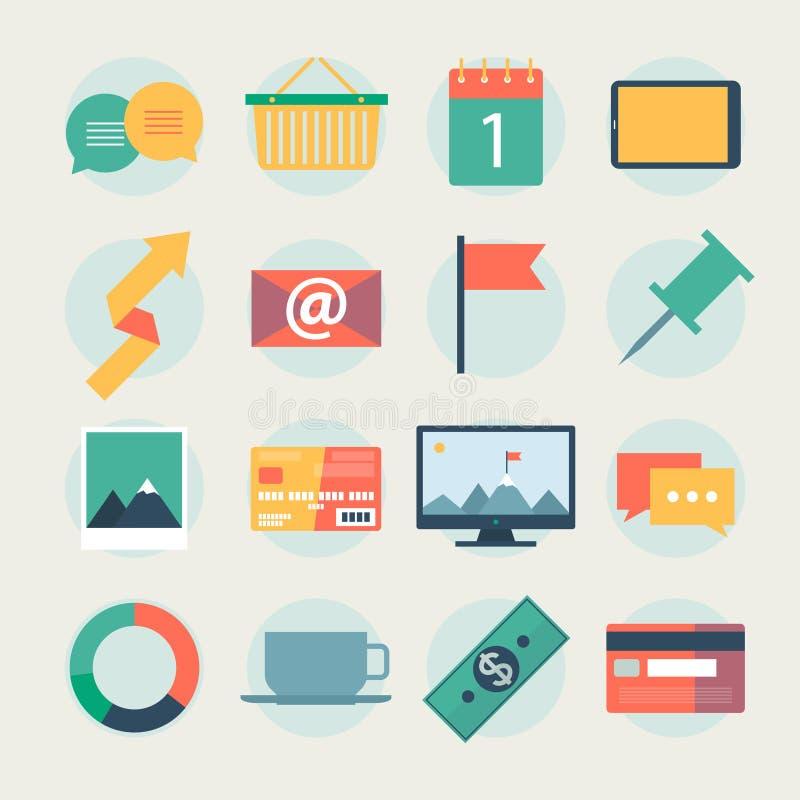 Los iconos planos modernos vector la colección, objetos del diseño web, negocio, la oficina y artículos del márketing. libre illustration