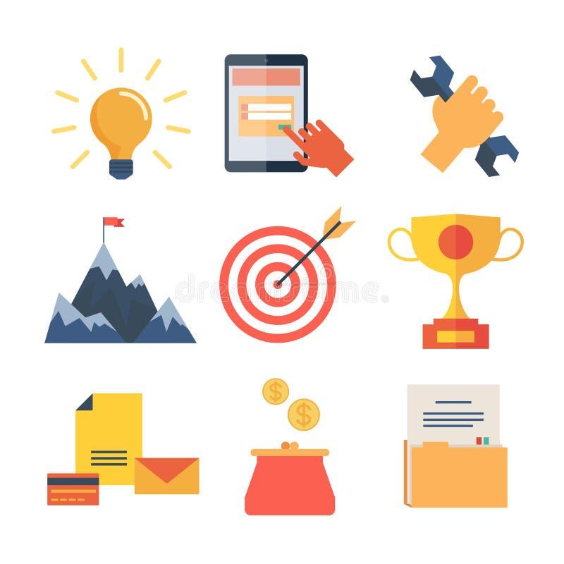 Los iconos planos modernos vector la colección, objetos del diseño web, negocio, la oficina y artículos del márketing stock de ilustración