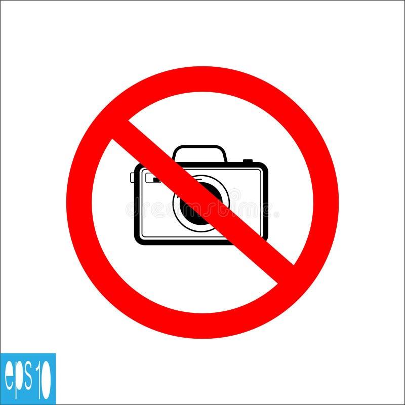 Los iconos prohibidos cámara negra de la foto de color, muestra, no toman la foto - ejemplo del vector stock de ilustración