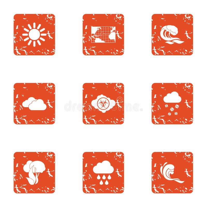 Los iconos que se calentaban del clima global fijaron, estilo del grunge stock de ilustración