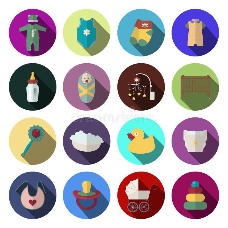 Los iconos recién nacidos del bebé fijaron en estilo plano del diseño libre illustration