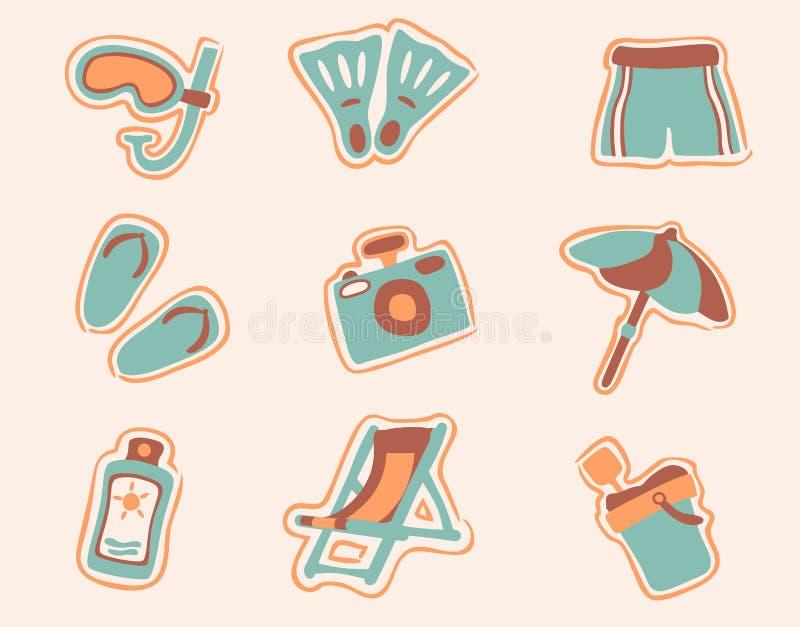 Los iconos retros de la playa fijaron 1 stock de ilustración