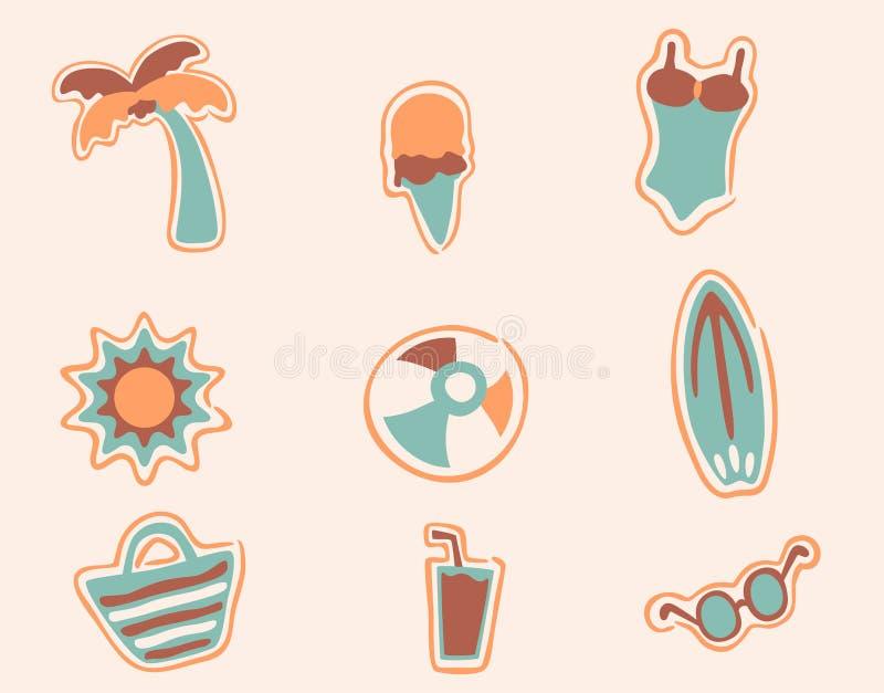 Los iconos retros de la playa fijaron 2 ilustración del vector