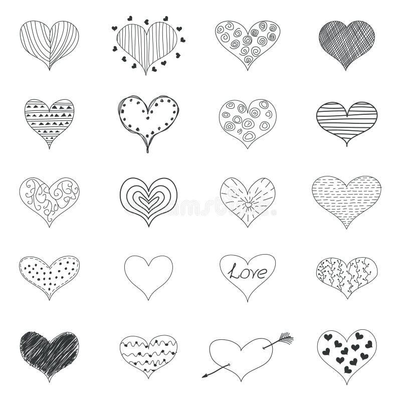 Los iconos retros de los garabatos de los corazones románticos del amor del bosquejo fijaron a Valentine Day Vector Illustration stock de ilustración