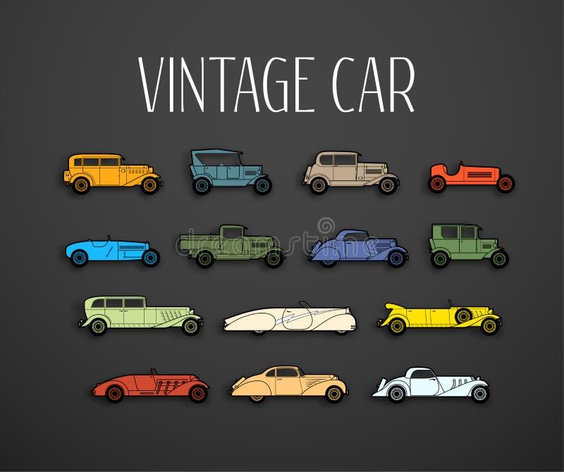 Los iconos retros fijaron, diversos coches de la forma de la silueta stock de ilustración