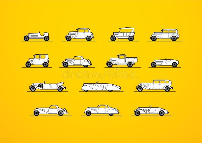 Los iconos retros fijaron, diversos coches de la forma de la silueta libre illustration