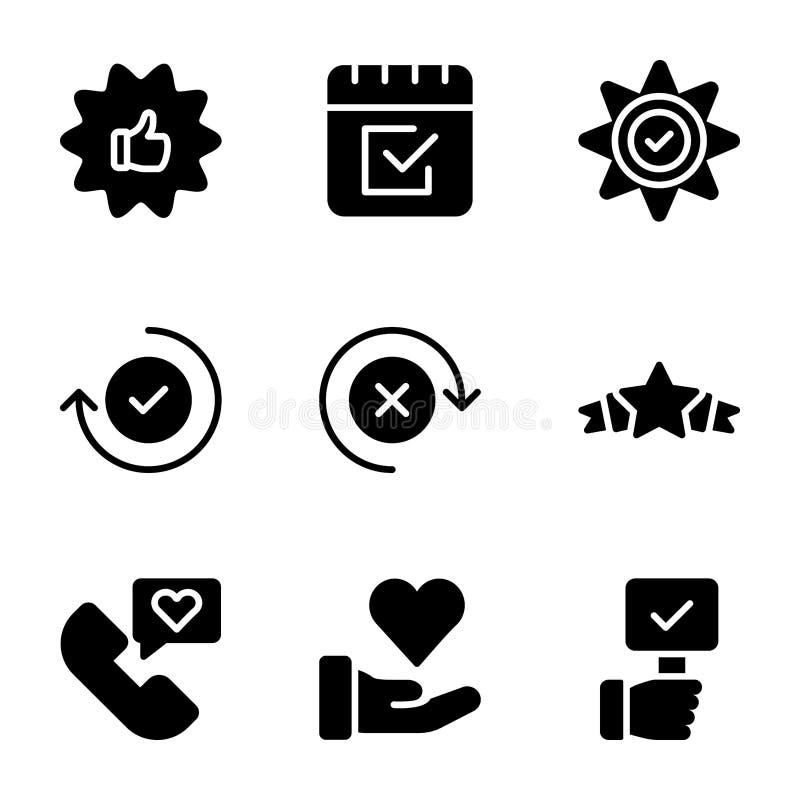 Los iconos sólidos emocionales de la opinión y de la lista de control embalan stock de ilustración