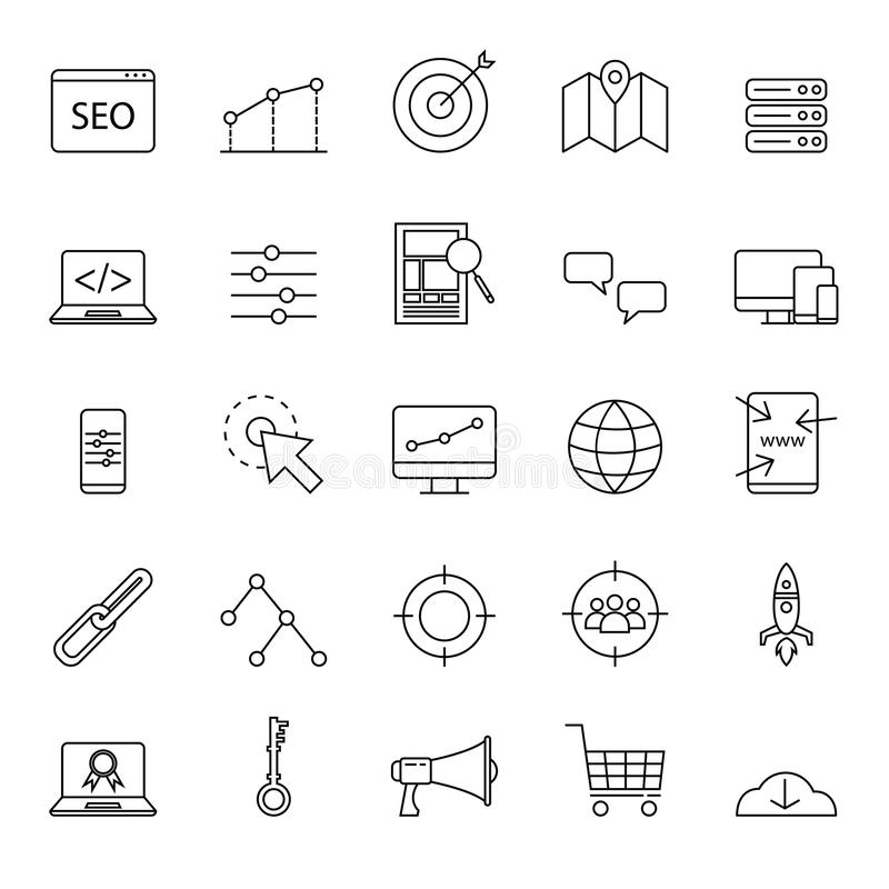 Los iconos simples del seo fijaron para el sitio web o el elemento básico con el esquema o la línea estilo ilustración del vector