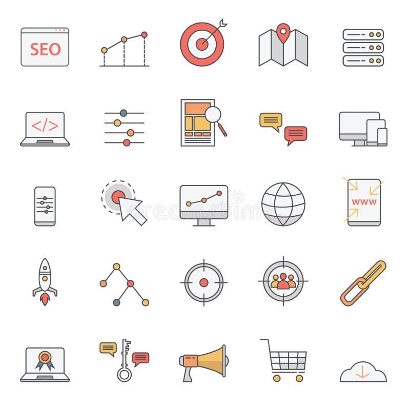 Los iconos simples del seo fijaron para el sitio web o el elemento básico con estilo del color ilustración del vector