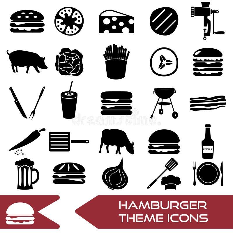 Los iconos simples modernos del tema de la hamburguesa fijaron eps10 stock de ilustración