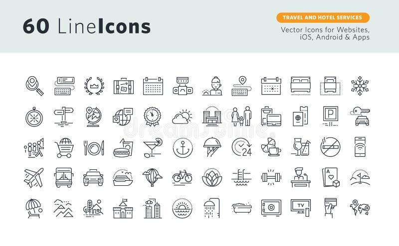 Los iconos superiores del concepto fijaron para los servicios del viaje y de hotel stock de ilustración