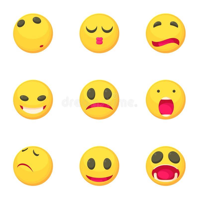 Los iconos tristes de la cara de la sonrisa fijaron, estilo de la historieta ilustración del vector