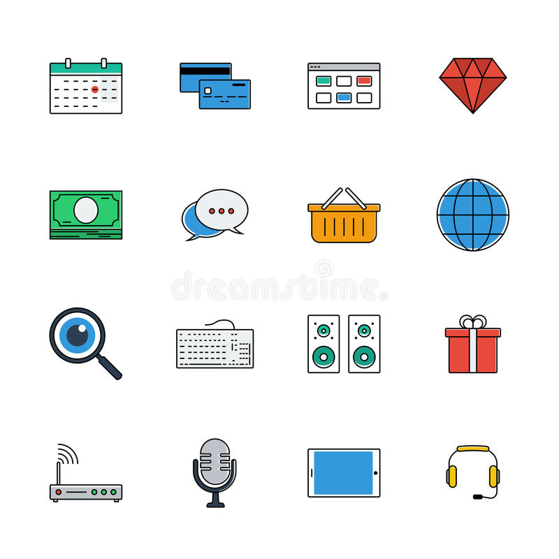 Los iconos vector el conjunto Línea de color muestras web libre illustration