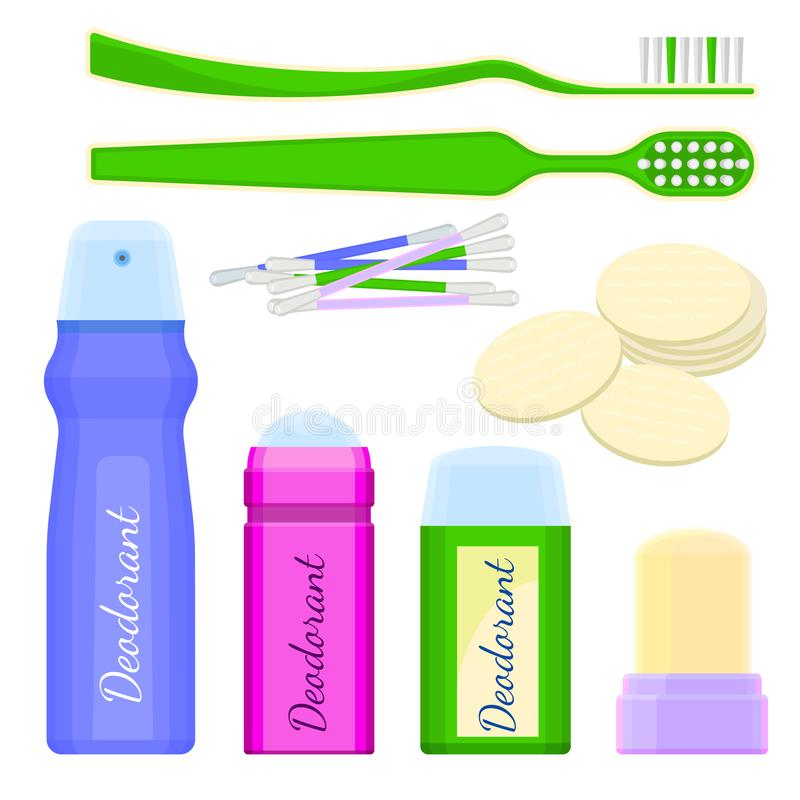Los iconos y los cepillos de dientes del desodorante con las esponjas vector el ejemplo stock de ilustración