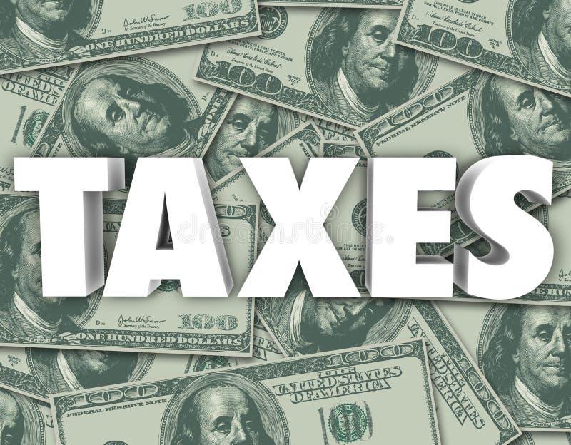 Los impuestos redactan cientos fondos del dinero de los billetes de dólar libre illustration