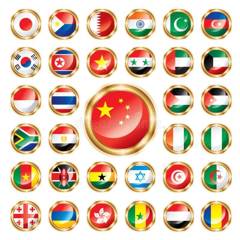 Los indicadores del botón fijaron Asia y África stock de ilustración