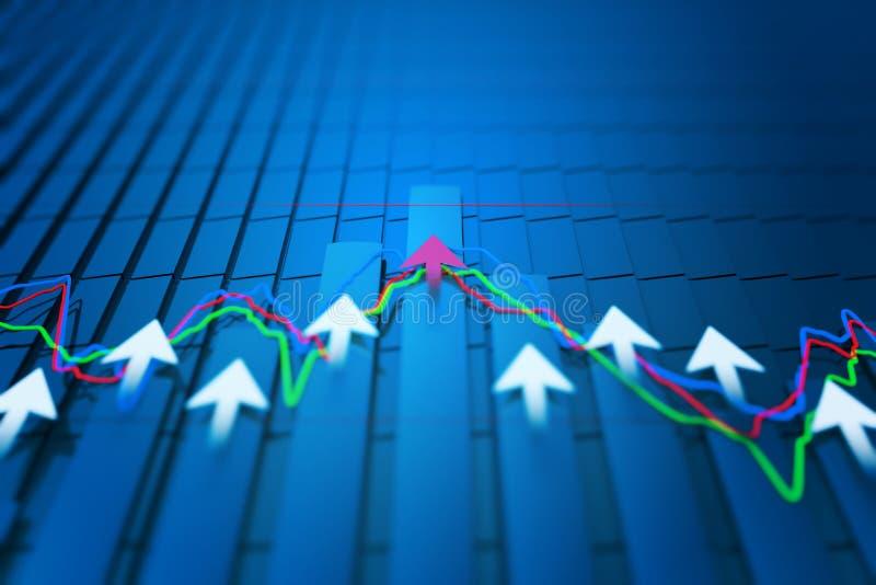 Los indicadores económicos y se mueven adelante con la flecha stock de ilustración