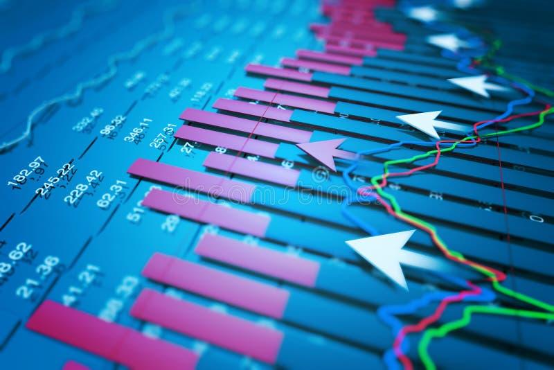 Los indicadores económicos y se mueven adelante con la flecha libre illustration