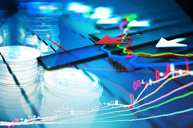 Los indicadores económicos y se mueven adelante con la flecha ilustración del vector