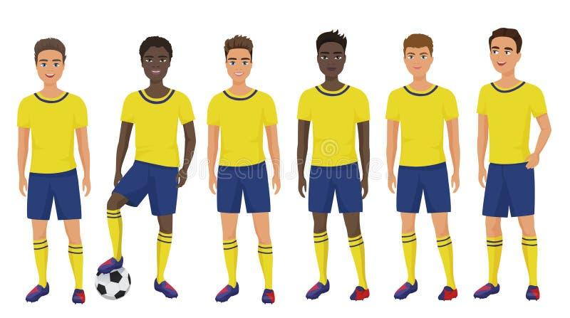 Los individuos jovenes de la escuela del vector del fútbol plano del fútbol combinan en el uniforme aislado ilustración del vector