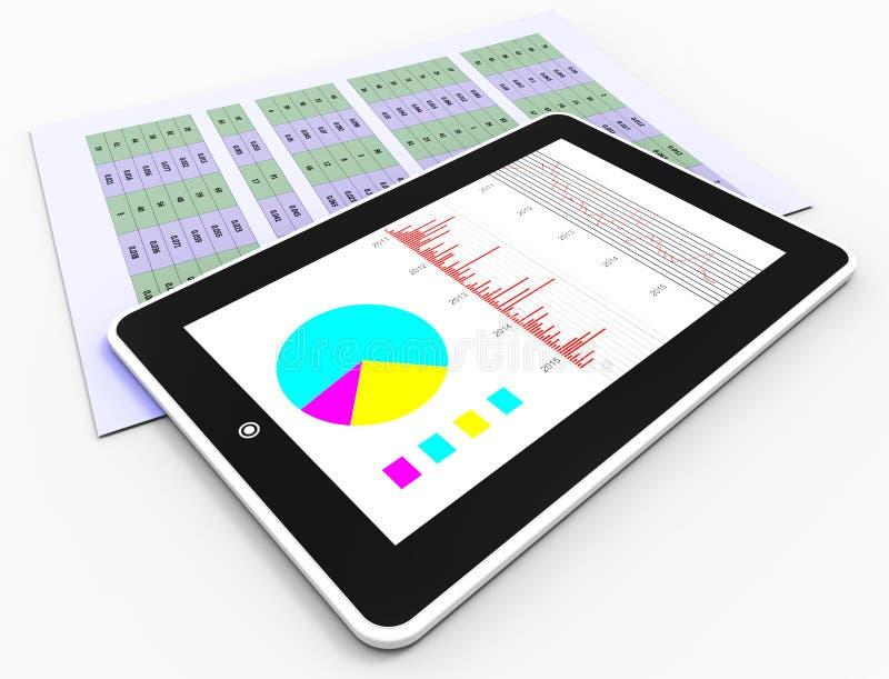 Los informes en línea representan el gráfico y el análisis de negocio stock de ilustración