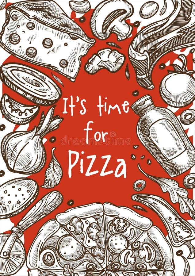 Los ingredientes de la pizza bosquejan la cocina italiana del cartel de la pizzería del marco libre illustration